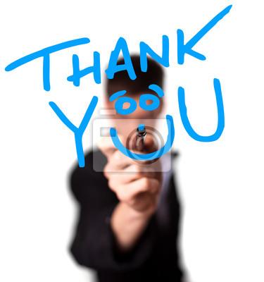 Junger Mann schreiben Vielen Dank auf Whiteboard