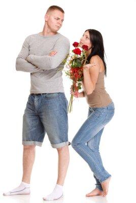 junger Mann verweigert Entschuldigung von ihr Frau isoliert