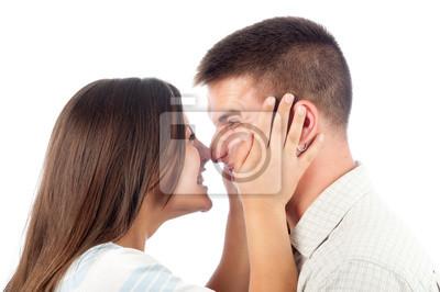 Junges Paar in der Liebe, die Spaß, isoliert auf weiss