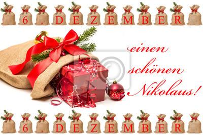Jutesack Mit Geschenk Zum Nikolaus Leinwandbilder Bilder