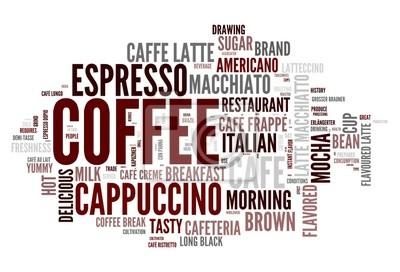 Bild Kaffee-Konzept in Wort tag cloud auf weißem Hintergrund