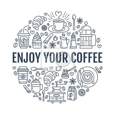 Kaffee machen plakat vorlage. brauen vektor zeile symbol, kreis ...