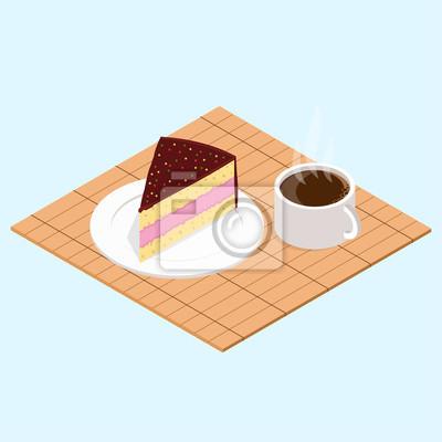 Bild Kaffee mit Stück Kuchen.