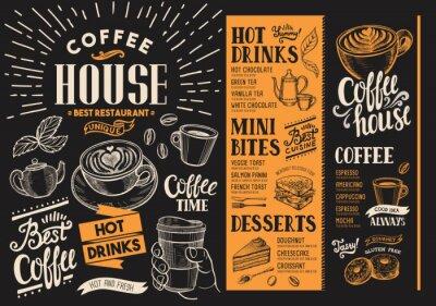 Bild Kaffee Restaurant Menü.  Getränkeflyer für Bar und Cafe.  Designvorlage mit handgezeichneten Lebensmittelillustrationen des Jahrgangs.