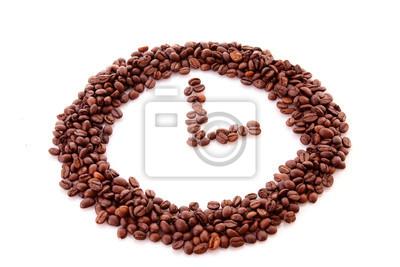 Bild Kaffeebohnen im Uhr-Symbol auf weißem isoliert