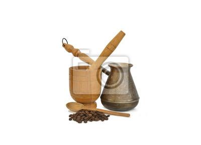 Kaffeekanne, Kaffee und Mörtel