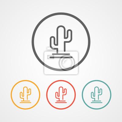Kaktus-strich-logo-symbol mit verschiedenen farben leinwandbilder ...