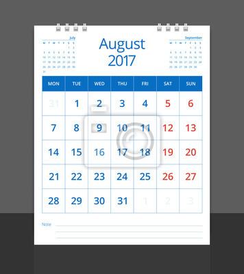 Schreibtisch Kalender August (mit Juli Und September) Layout Vorlage