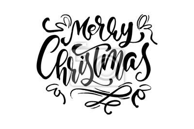 Schriftart Weihnachten.Bild Kalligraphischer Beschriftungstext Der Frohen Weihnachten Vektor