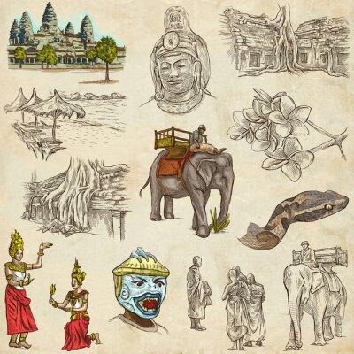 Bild Kambodscha - Ein handgezeichnete Illustrationen. Frehand Pack.