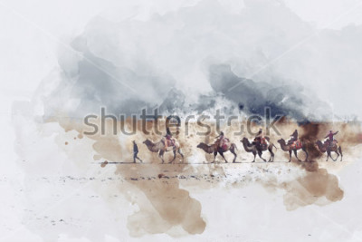 Bild Kamele und Leute, die auf die silk Straße und die Sanddüne der Wüste, digitale Aquarellillustration gehen