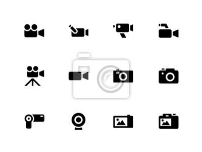 Kamera-Symbole auf weißem Hintergrund.
