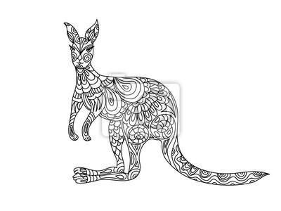 Kangaroo Zentangle Ausmalbilder Leinwandbilder Bilder Färben