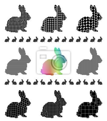 Kaninchen Silhouette Mosaik-Set
