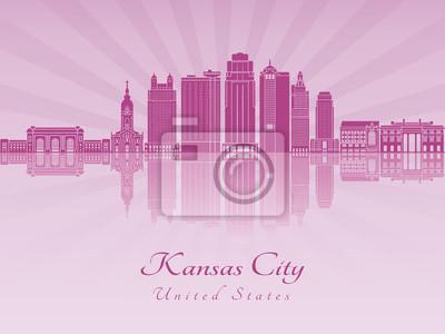Bild Kansas City V2 Skyline in lila strahlende Orchidee