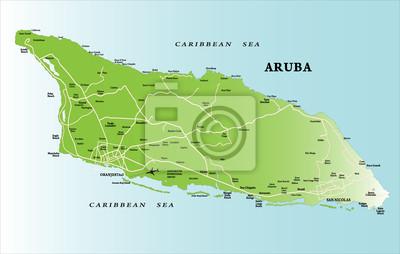Aruba Karte Karibik.Bild Karibikinsel Aruba Karte