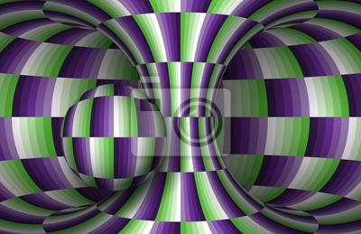 Kariertes Hyperboloid und Kugel bewegen. Vektor-Illustration der optischen Täuschung.