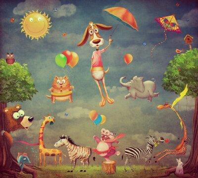 Karikaturabbildung der Tiere am Wald