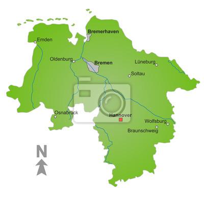 Bundesland Bremen Karte.Bild Karte Bundesland Niedersachsen Und Bremen