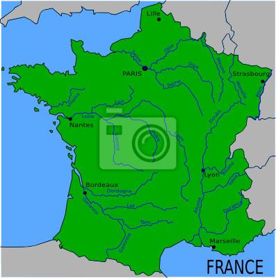 Karte Der Grossen Flusse In Frankreich Leinwandbilder Bilder