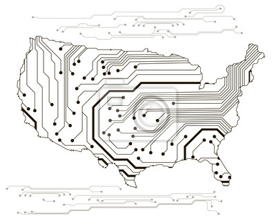 Bild: Karte der usa in der schaltung stil