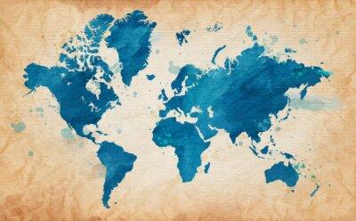 Bild Karte der Welt, mit einem strukturierten Hintergrund und Aquarell Flecken