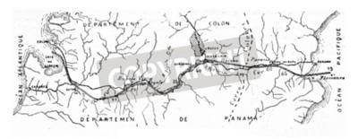 Bild Karte des Panamakanals, Vintage gravierte Darstellung. Industrielle Enzyklopädie E.-O. Lami - 1875