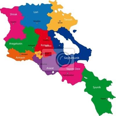 Armenien Karte.Bild Karte Von Administrativen Abteilungen Der Republik Armenien