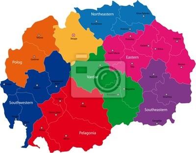 Mazedonien Karte.Bild Karte Von Administrativen Abteilungen Der Republik Mazedonien