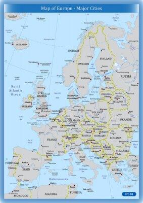 Bild Karte von Europa - Bedeutende Städte