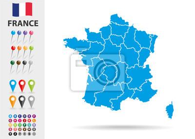 Bild Karte von Frankreich in Europa