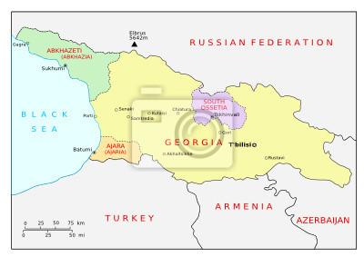 Georgien Karte Regionen.Bild Karte Von Georgien Kaukasus Und Regionen