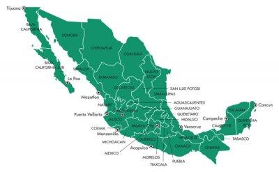 Bild Karte von Mexiko mit Staaten und Städte