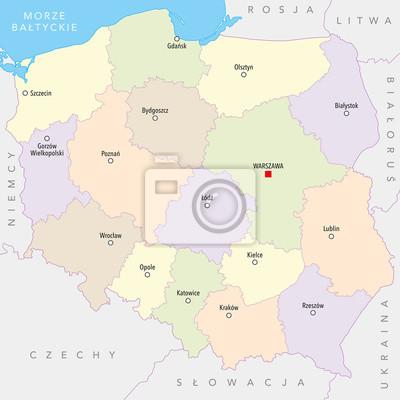 Karte Von Polen Mit Stadten Provinzen Polnische Namen