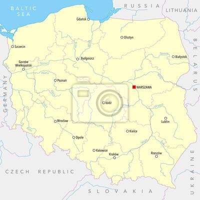 Karte Von Polen Mit Stadten Provinzen Und Flussen Namen Auf