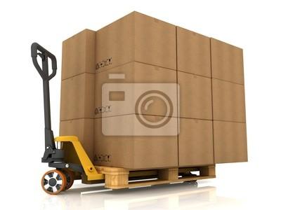 Kartons auf Paletten-LKW, isoliert auf weiss