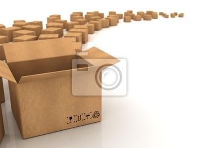 Kartons auf weißem Hintergrund