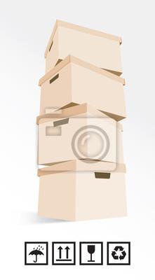 Kartons auf weißem Hintergrund Pluszeichen