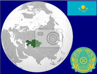 Globus Karte.Kasachstan Globus Karte Locator Welt Flagge Mantel