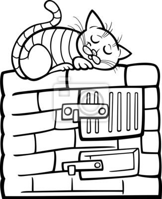 Katze auf dem herd cartoon färbung seite leinwandbilder • bilder ...