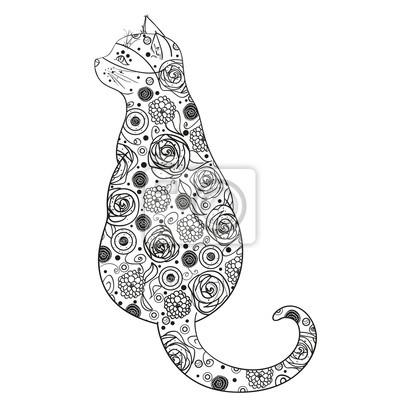 Katze Design Zentangle Hand Gezeichnetes Tier Mit