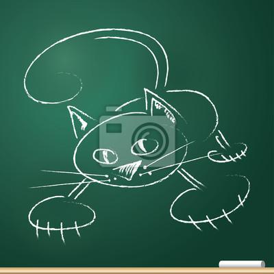Katze, in Kreide gezeichnet - Vektor-Illustration