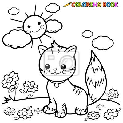 Katze Sitzt Auf Gras Ausmalbilder Buchseite Leinwandbilder Bilder