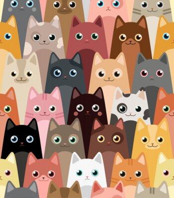 Bild Katzen. Cartoon Vektor nahtlose Hintergrund.