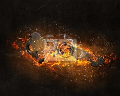 Key-Zeichen in Feuer Flammen