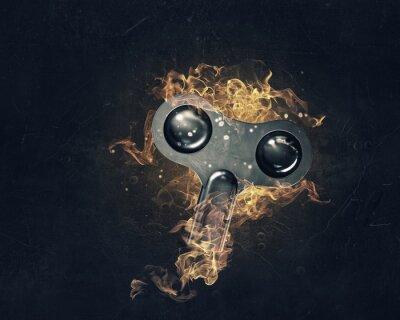 Key-Zeichen in Feuer Flammen. Gemischte Medien