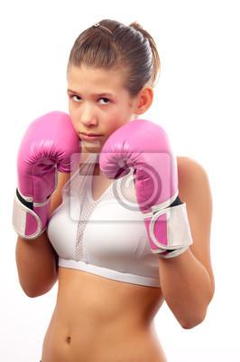 Kickboxen Mädchen isoliert auf weiß