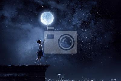 Bild Kid girl catching moon. Mixed media