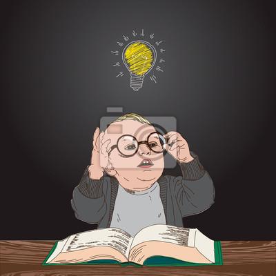 Kind mit Buch und Lampe über seinem Kopf, Vektor Eps10.
