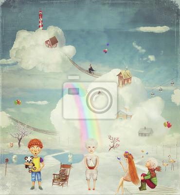 Kinder auf dem fantastischen Planeten in den Himmel